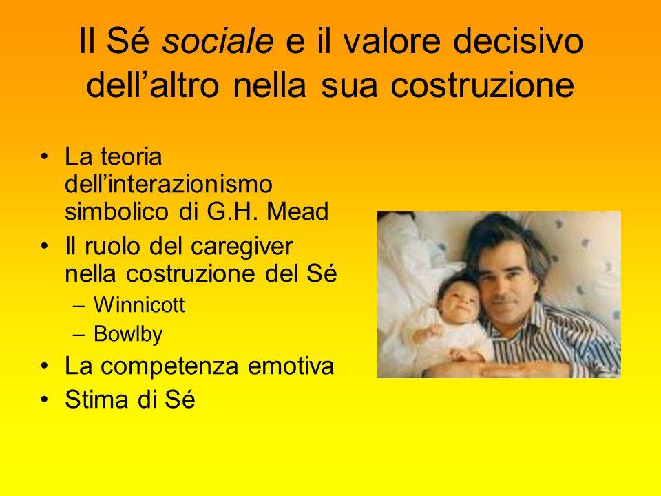 Il Sé sociale e il valore decisivo dellaltro nella sua costruzione La teoria dellinterazionismo simbolico di G.H. Mead Il ruolo del caregiver nella co
