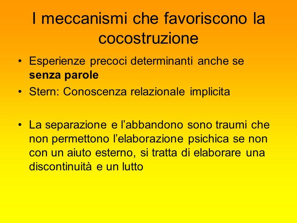 I meccanismi che favoriscono la cocostruzione Esperienze precoci determinanti anche se senza parole Stern: Conoscenza relazionale implicita La separaz