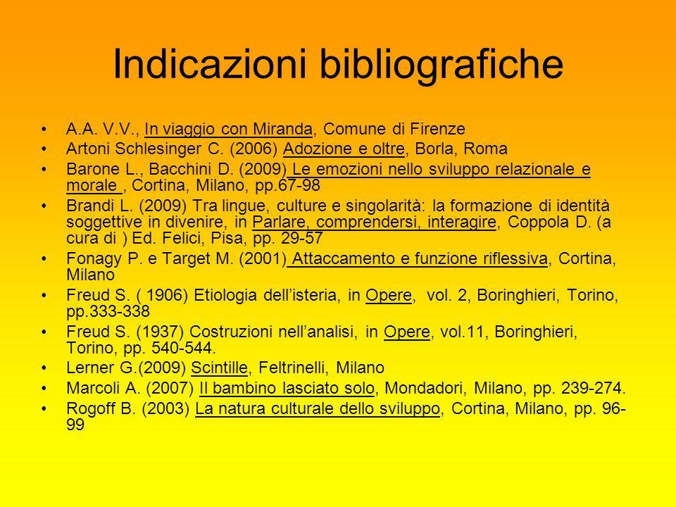 Indicazioni bibliografiche A.A. V.V., In viaggio con Miranda, Comune di Firenze Artoni Schlesinger C. (2006) Adozione e oltre, Borla, Roma Barone L.,