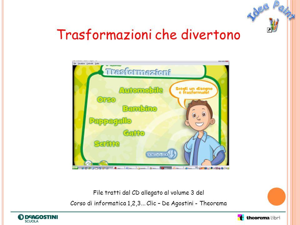 Trasformazioni che divertono File tratti dal CD allegato al volume 3 del Corso di informatica 1,2,3... Clic – De Agostini - Theorema