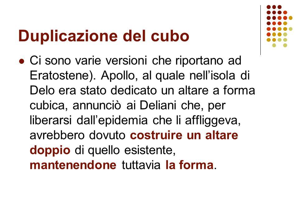 Duplicazione del cubo Ci sono varie versioni che riportano ad Eratostene). Apollo, al quale nellisola di Delo era stato dedicato un altare a forma cub