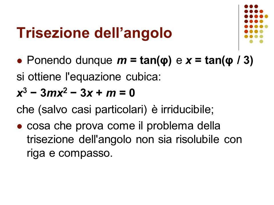 Trisezione dellangolo Ponendo dunque m = tan(φ) e x = tan(φ / 3) si ottiene l'equazione cubica: x 3 3mx 2 3x + m = 0 che (salvo casi particolari) è ir