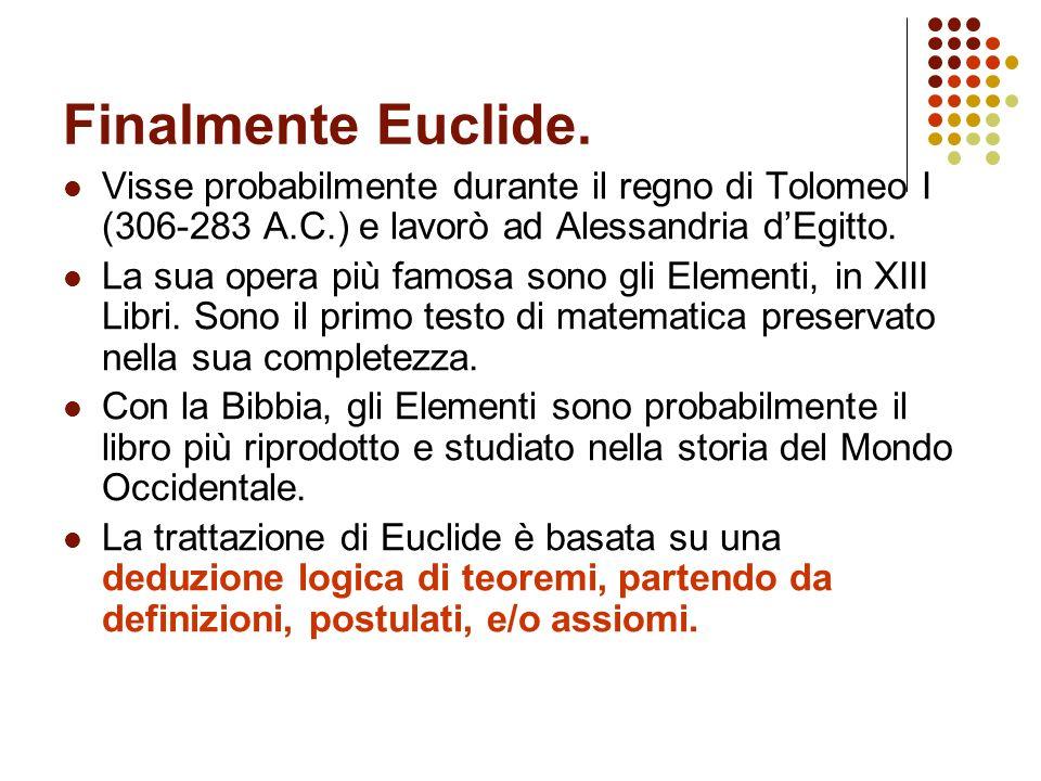 Finalmente Euclide. Visse probabilmente durante il regno di Tolomeo I (306-283 A.C.) e lavorò ad Alessandria dEgitto. La sua opera più famosa sono gli