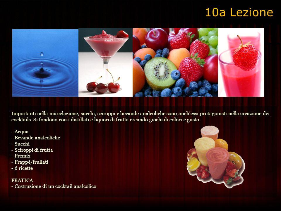 Importanti nella miscelazione, succhi, sciroppi e bevande analcoliche sono anchessi protagonisti nella creazione dei cocktails.