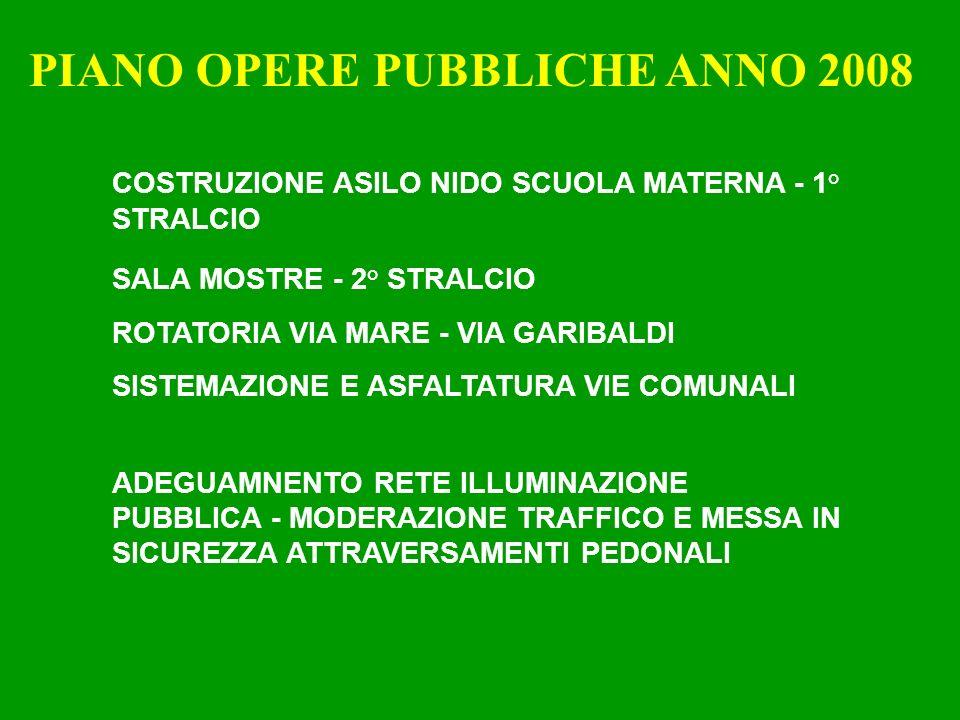 PIANO OPERE PUBBLICHE ANNO 2008 COSTRUZIONE ASILO NIDO SCUOLA MATERNA - 1° STRALCIO SALA MOSTRE - 2° STRALCIO ROTATORIA VIA MARE - VIA GARIBALDI SISTEMAZIONE E ASFALTATURA VIE COMUNALI ADEGUAMNENTO RETE ILLUMINAZIONE PUBBLICA - MODERAZIONE TRAFFICO E MESSA IN SICUREZZA ATTRAVERSAMENTI PEDONALI