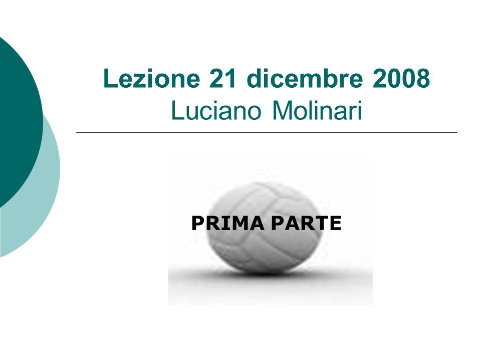 PRIMA PARTE Lezione 21 dicembre 2008 Luciano Molinari