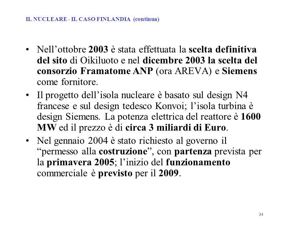 34 Nellottobre 2003 è stata effettuata la scelta definitiva del sito di Oikiluoto e nel dicembre 2003 la scelta del consorzio Framatome ANP (ora AREVA) e Siemens come fornitore.