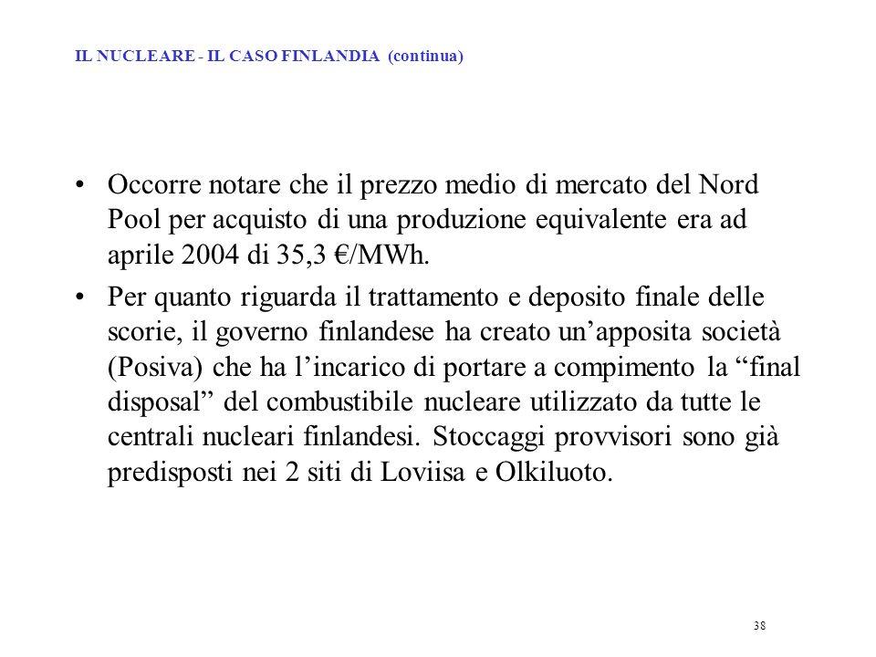 38 Occorre notare che il prezzo medio di mercato del Nord Pool per acquisto di una produzione equivalente era ad aprile 2004 di 35,3 /MWh.