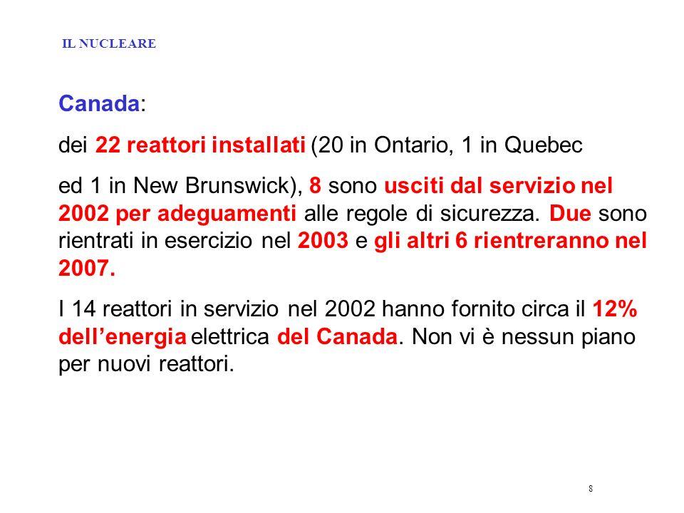 8 Canada: dei 22 reattori installati (20 in Ontario, 1 in Quebec ed 1 in New Brunswick), 8 sono usciti dal servizio nel 2002 per adeguamenti alle regole di sicurezza.