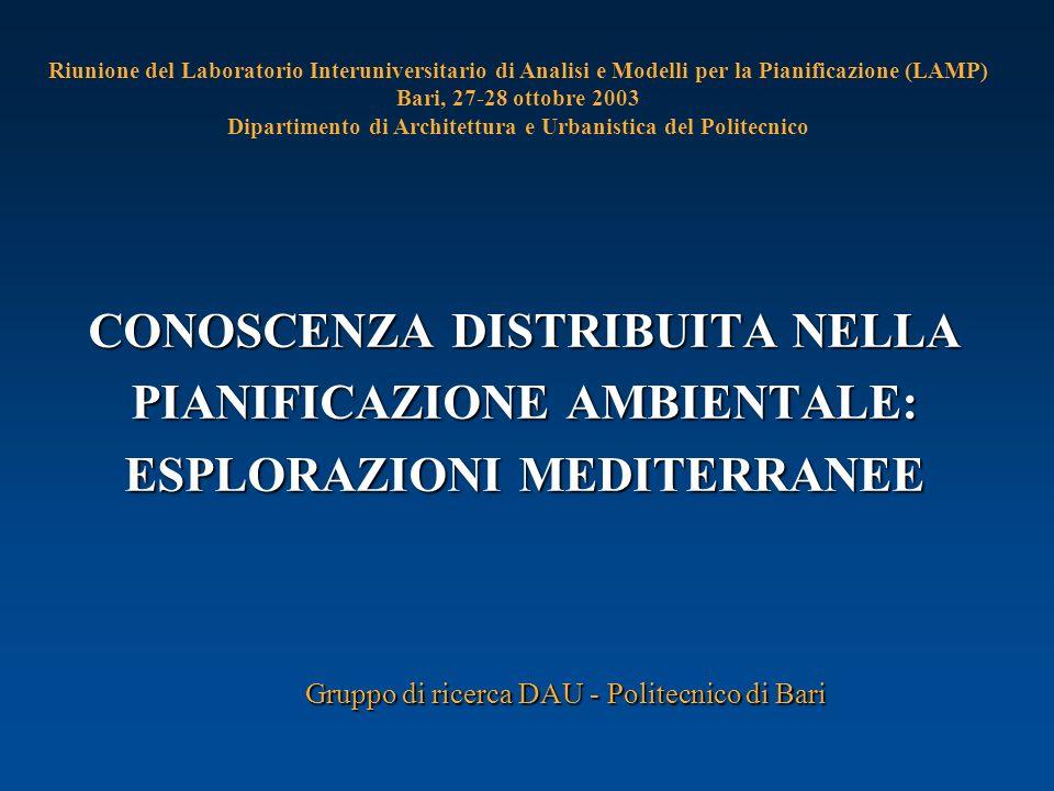 CONOSCENZA DISTRIBUITA NELLA PIANIFICAZIONE AMBIENTALE: ESPLORAZIONI MEDITERRANEE Gruppo di ricerca DAU - Politecnico di Bari Riunione del Laboratorio