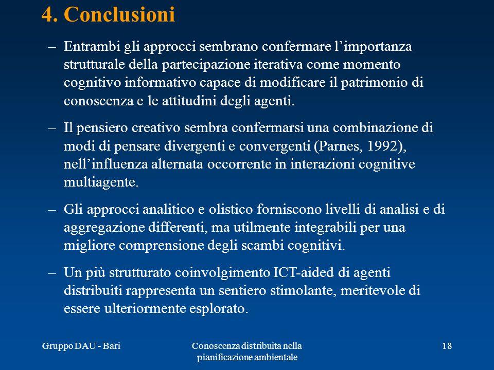Gruppo DAU - BariConoscenza distribuita nella pianificazione ambientale 18 4. Conclusioni –Entrambi gli approcci sembrano confermare limportanza strut