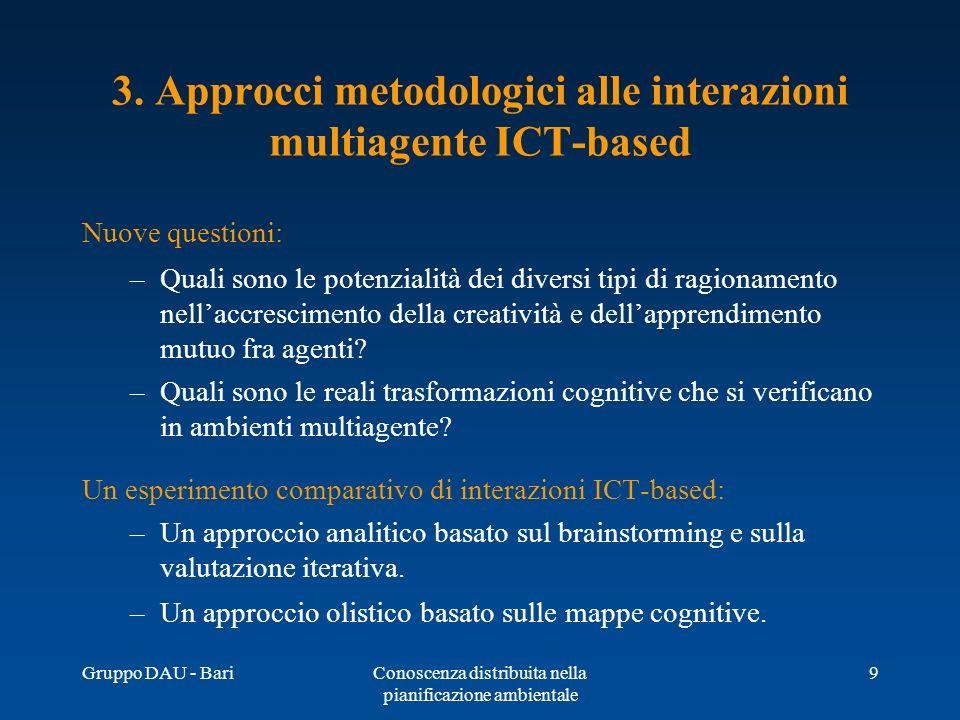Gruppo DAU - BariConoscenza distribuita nella pianificazione ambientale 9 3. Approcci metodologici alle interazioni multiagente ICT based Nuove questi