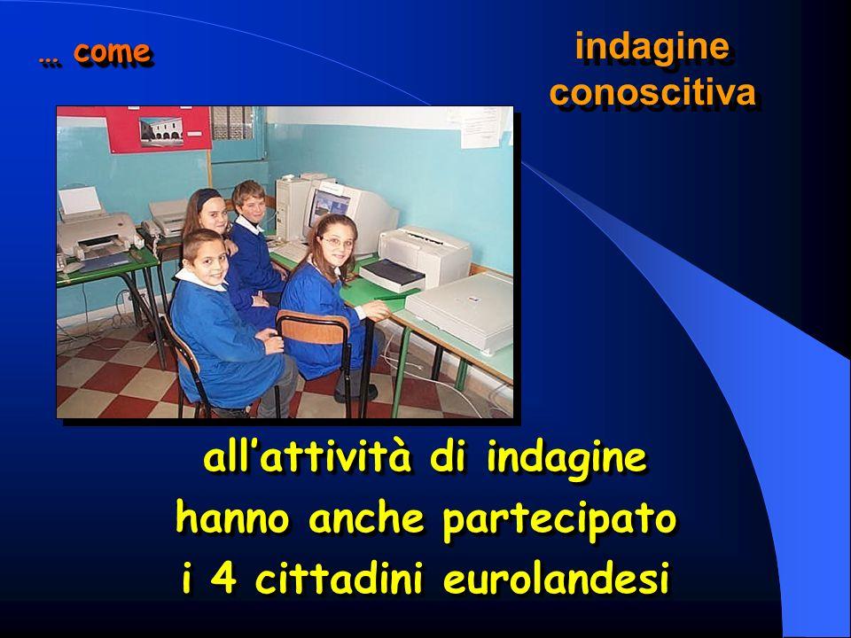 allattività di indagine hanno anche partecipato i 4 cittadini eurolandesi allattività di indagine hanno anche partecipato i 4 cittadini eurolandesi … come indagine conoscitiva