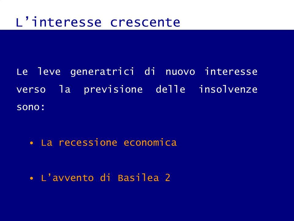Linteresse crescente Le leve generatrici di nuovo interesse verso la previsione delle insolvenze sono: La recessione economica Lavvento di Basilea 2