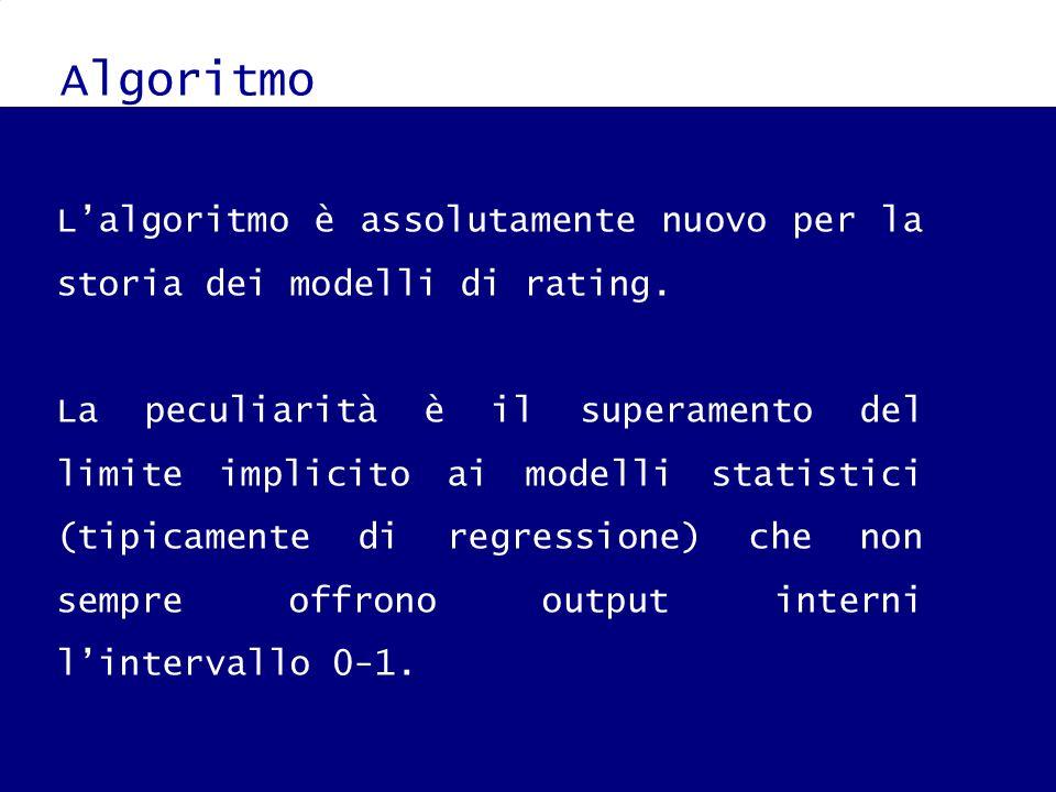 Algoritmo Tale risultato è stato ottenuto applicando i principi logici della gaussiana e della relativa funzione cumulata alle informazioni (numeriche e non) derivanti dallazienda sotto analisi.