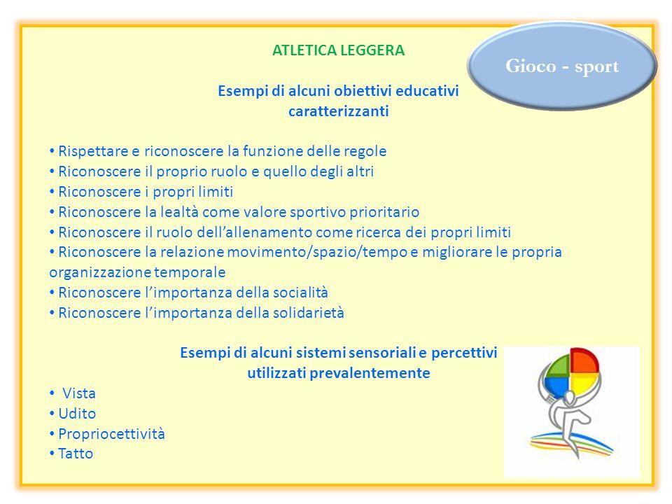 Gioco - sport ATLETICA LEGGERA Esempi di alcuni obiettivi educativi caratterizzanti Rispettare e riconoscere la funzione delle regole Riconoscere il p