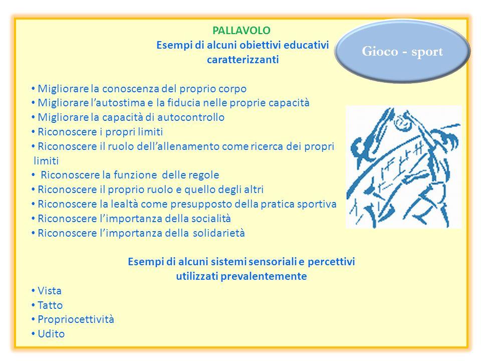 Gioco - sport PALLAVOLO Esempi di alcuni obiettivi educativi caratterizzanti Migliorare la conoscenza del proprio corpo Migliorare lautostima e la fid