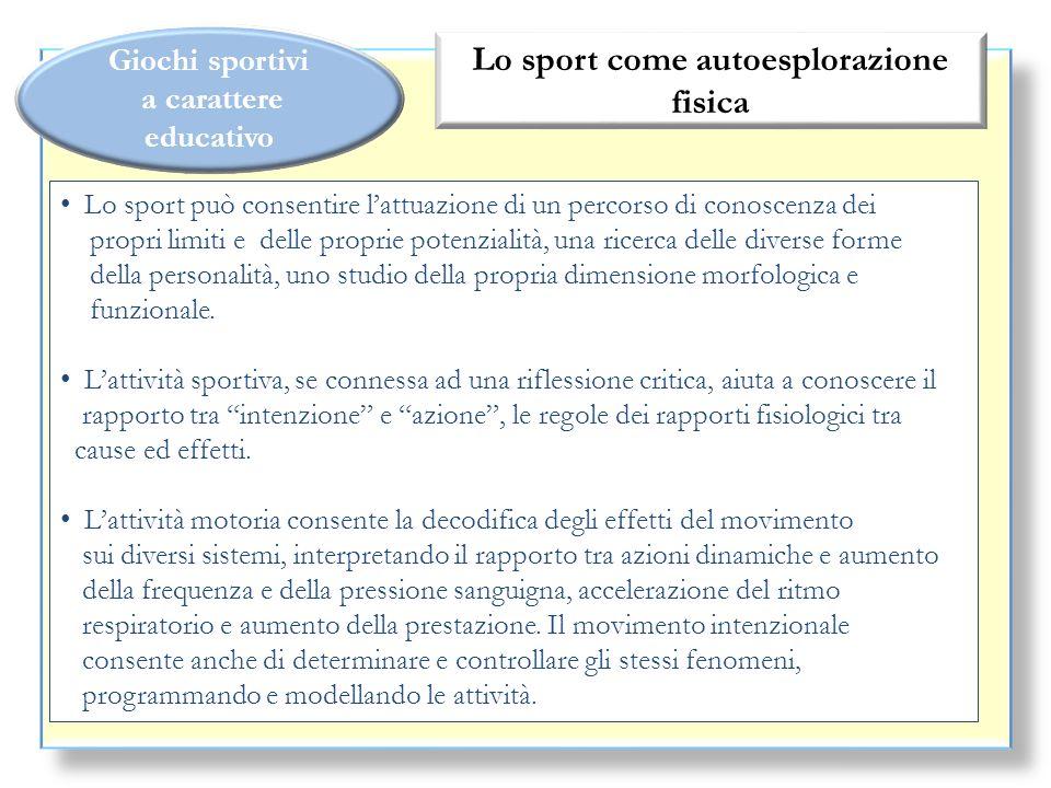 Giochi sportivi a carattere educativo Lo sport come autoesplorazione fisica Lo sport può consentire lattuazione di un percorso di conoscenza dei propr