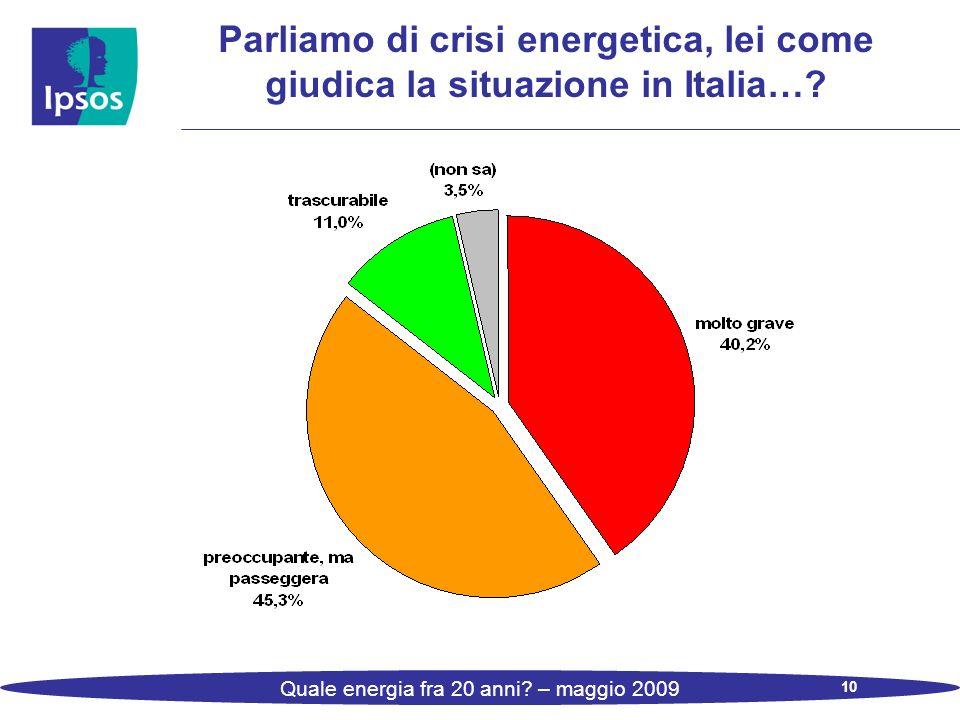 10 Quale energia fra 20 anni? – maggio 2009 Parliamo di crisi energetica, lei come giudica la situazione in Italia…?