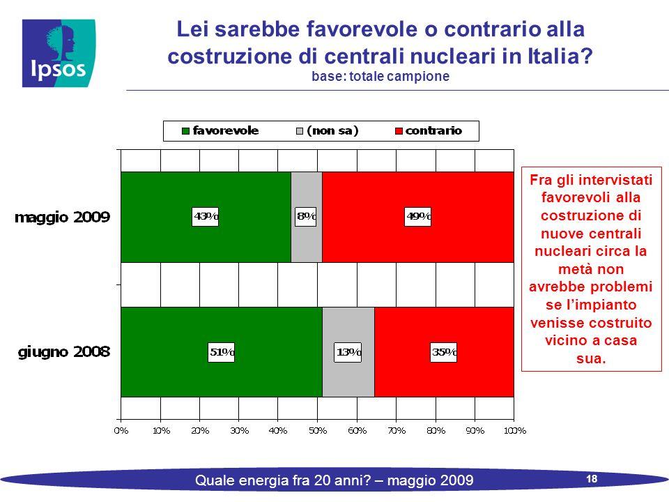 18 Quale energia fra 20 anni? – maggio 2009 Lei sarebbe favorevole o contrario alla costruzione di centrali nucleari in Italia? base: totale campione