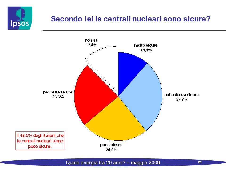21 Quale energia fra 20 anni – maggio 2009 Secondo lei le centrali nucleari sono sicure