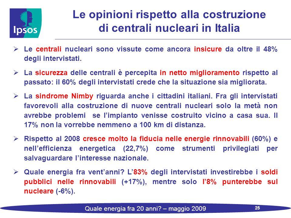 25 Quale energia fra 20 anni? – maggio 2009 Le centrali nucleari sono vissute come ancora insicure da oltre il 48% degli intervistati. La sicurezza de