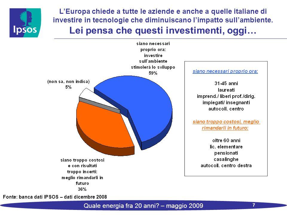 7 Quale energia fra 20 anni? – maggio 2009 LEuropa chiede a tutte le aziende e anche a quelle italiane di investire in tecnologie che diminuiscano lim