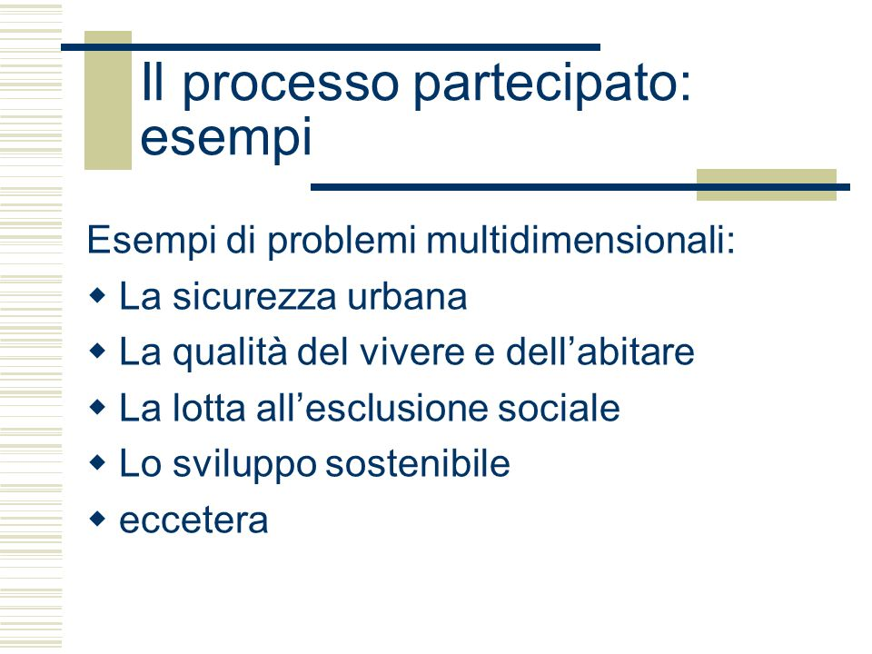 Il processo partecipato: esempi Esempi di problemi multidimensionali: La sicurezza urbana La qualità del vivere e dellabitare La lotta allesclusione sociale Lo sviluppo sostenibile eccetera