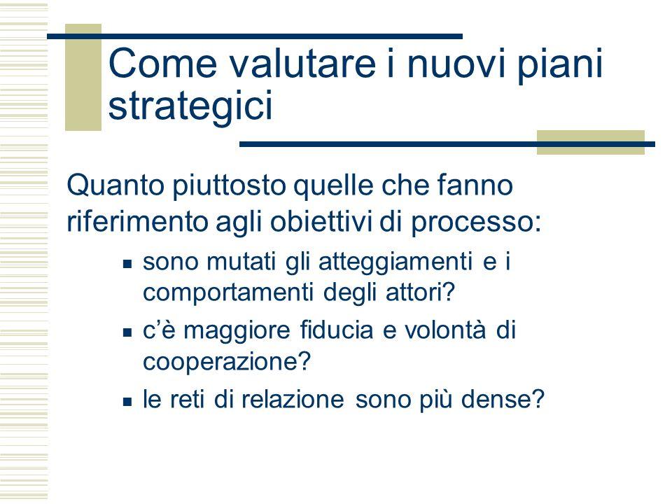 Come valutare i nuovi piani strategici Quanto piuttosto quelle che fanno riferimento agli obiettivi di processo: sono mutati gli atteggiamenti e i comportamenti degli attori.