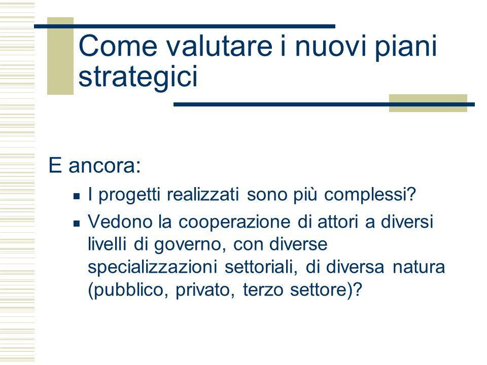 Come valutare i nuovi piani strategici E ancora: I progetti realizzati sono più complessi.
