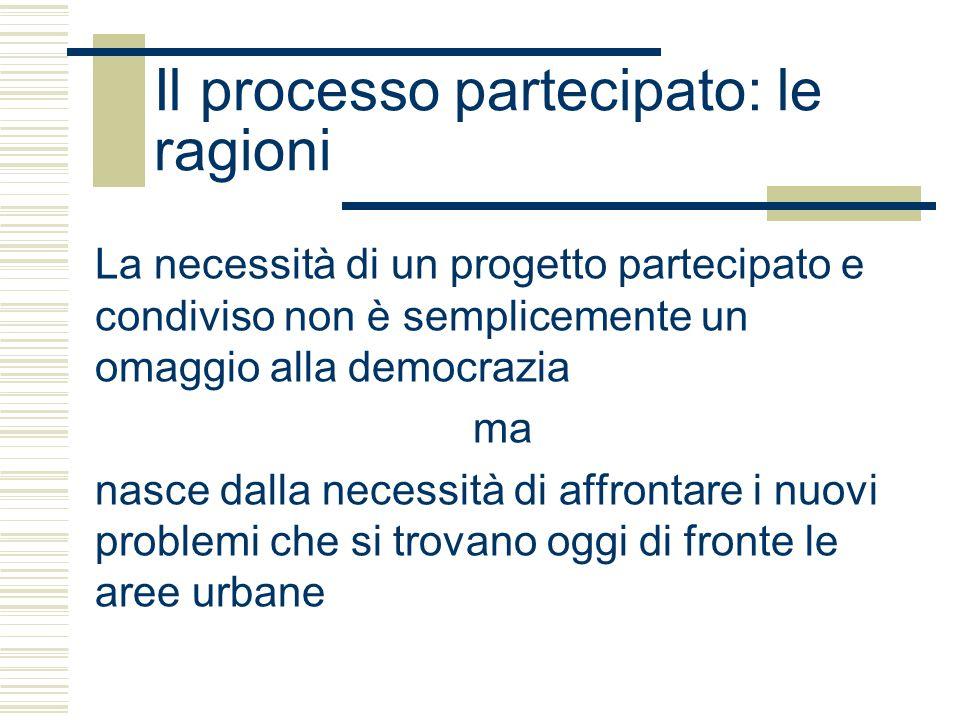 Il processo partecipato: le ragioni Le maggioranze possono commettere errori e in ogni caso un vasto consenso rischia di diminuire il tasso di innovazione ma per risolvere problemi complessi è necessaria la cooperazione tra i soggetti in possesso delle risorse chiave