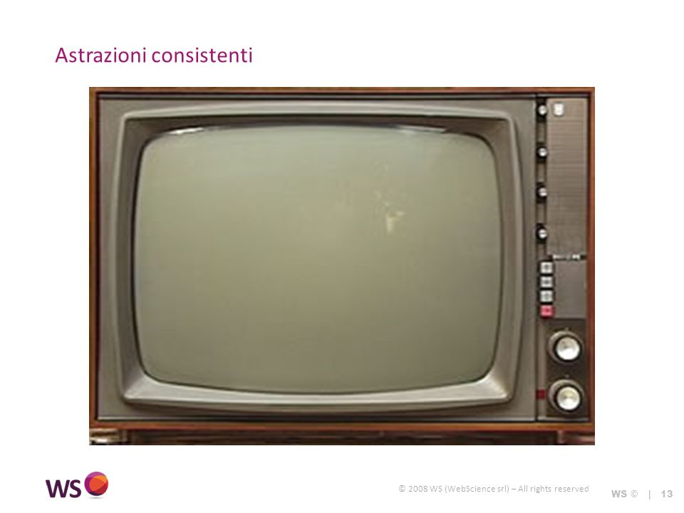 © 2008 WS (WebScience srl) – All rights reserved Astrazioni consistenti WS © | 13