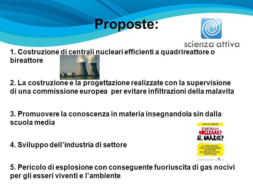 Proposte: 1. Costruzione di centrali nucleari efficienti a quadrireattore o bireattore 2. La costruzione e la progettazione realizzate con la supervis
