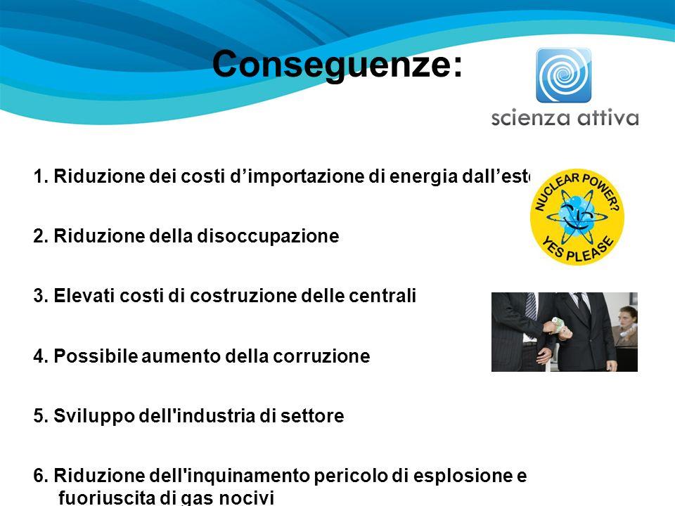 Conseguenze: 1. Riduzione dei costi dimportazione di energia dallestero 2. Riduzione della disoccupazione 3. Elevati costi di costruzione delle centra
