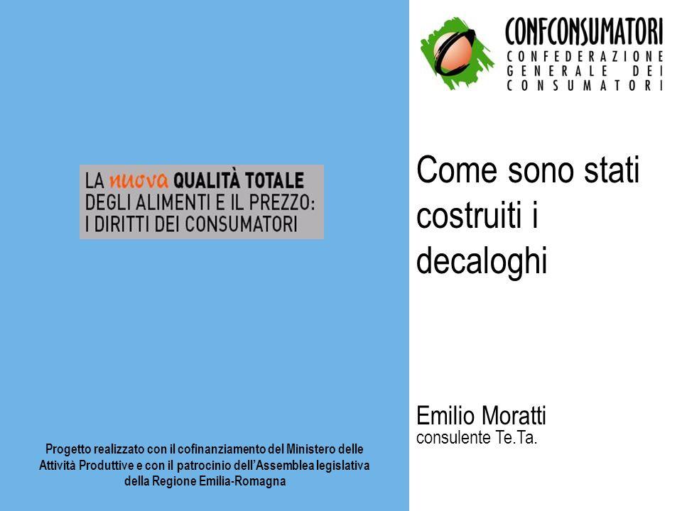 Come sono stati costruiti i decaloghi Emilio Moratti consulente Te.Ta. Progetto realizzato con il cofinanziamento del Ministero delle Attività Produtt