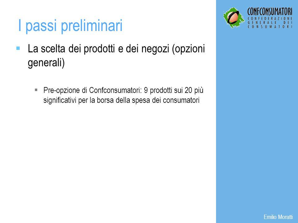 La scelta dei prodotti e dei negozi (opzioni generali) Pre-opzione di Confconsumatori: 9 prodotti sui 20 più significativi per la borsa della spesa dei consumatori I passi preliminari Emilio Moratti