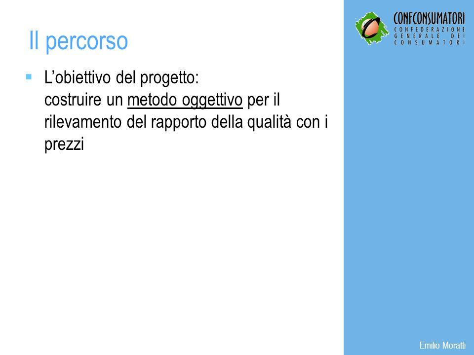 Lobiettivo del progetto: costruire un metodo oggettivo per il rilevamento del rapporto della qualità con i prezzi Il percorso Emilio Moratti