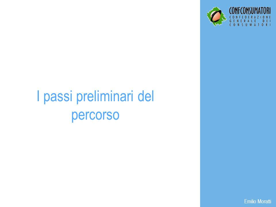 I passi preliminari del percorso Emilio Moratti