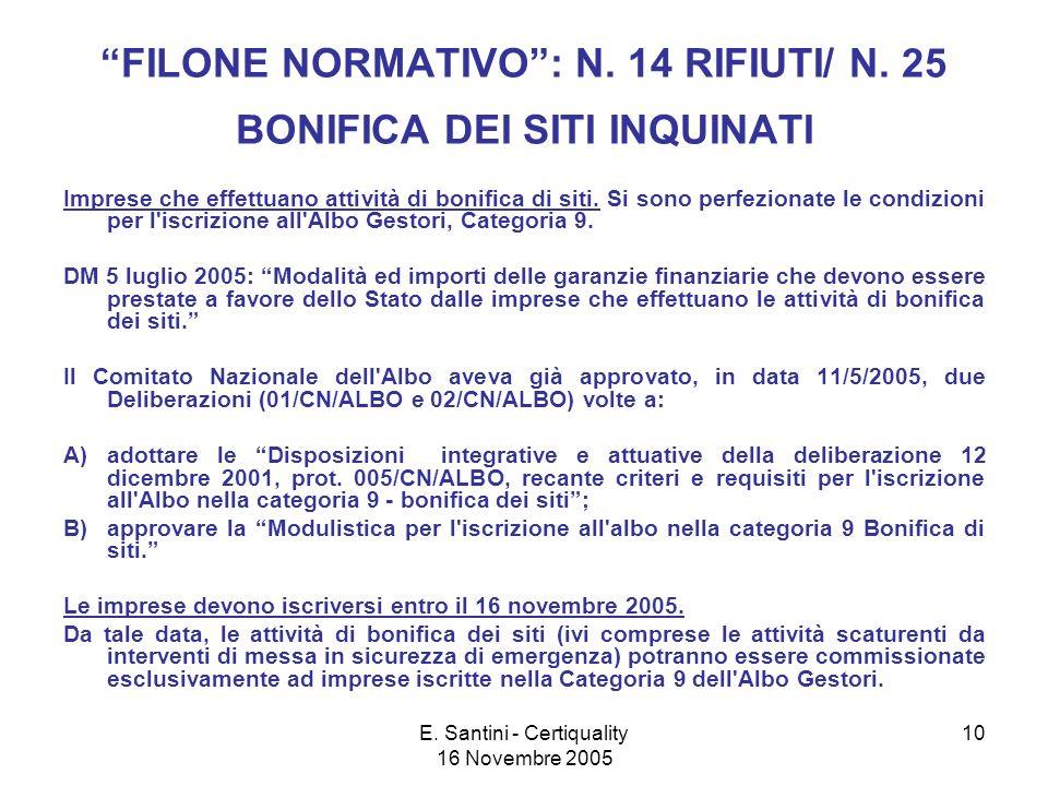 E. Santini - Certiquality 16 Novembre 2005 10 FILONE NORMATIVO: N.