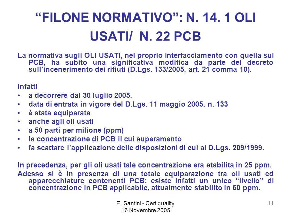 E. Santini - Certiquality 16 Novembre 2005 11 FILONE NORMATIVO: N.