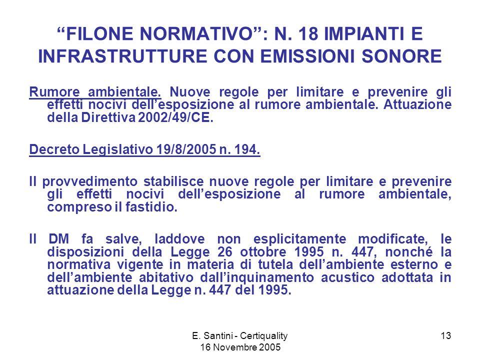 E. Santini - Certiquality 16 Novembre 2005 13 FILONE NORMATIVO: N.