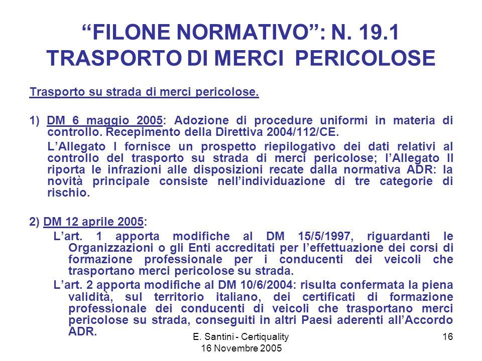 E. Santini - Certiquality 16 Novembre 2005 16 FILONE NORMATIVO: N.