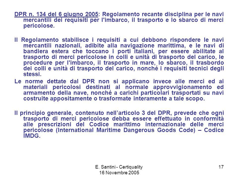 E.Santini - Certiquality 16 Novembre 2005 17 DPR n.