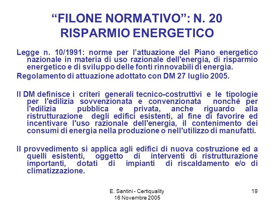 E. Santini - Certiquality 16 Novembre 2005 19 FILONE NORMATIVO: N.