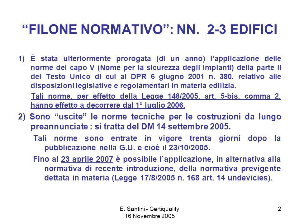 E. Santini - Certiquality 16 Novembre 2005 2 FILONE NORMATIVO: NN.