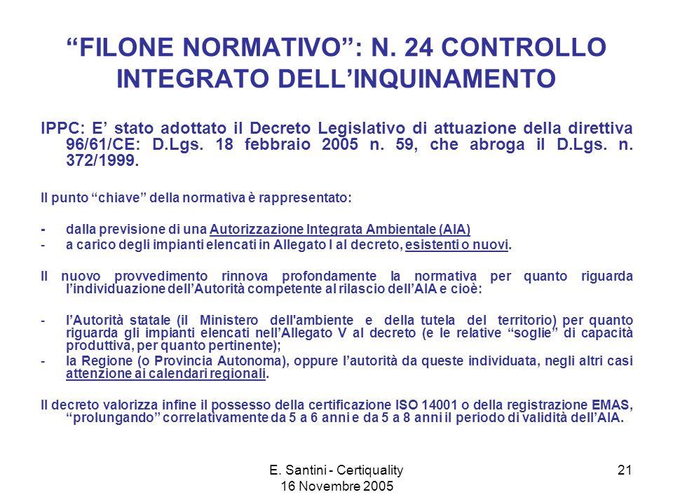E. Santini - Certiquality 16 Novembre 2005 21 FILONE NORMATIVO: N.
