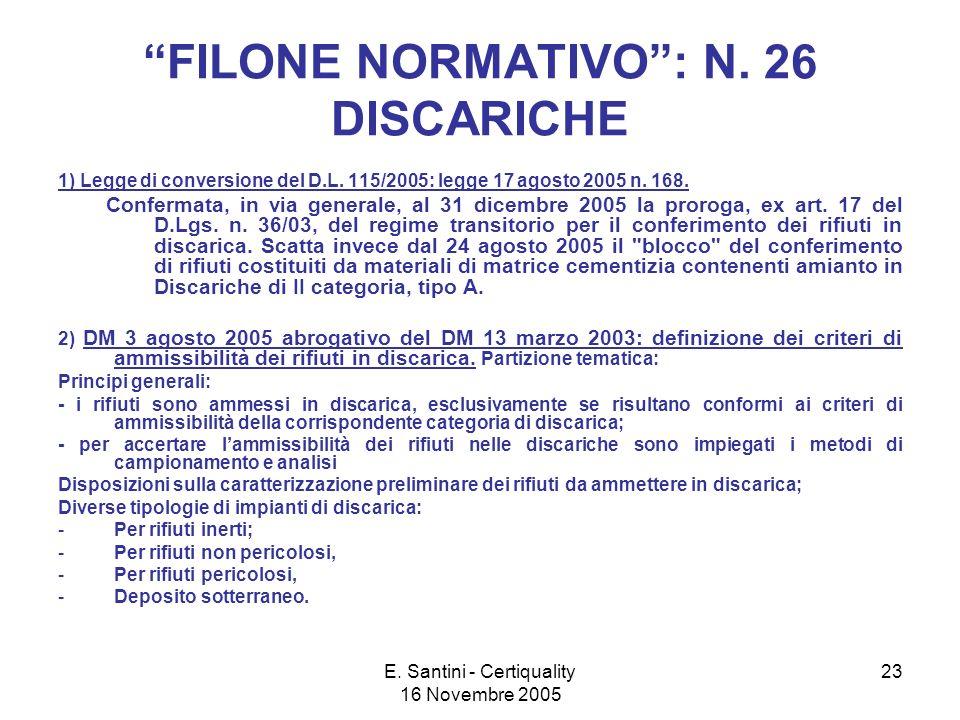 E. Santini - Certiquality 16 Novembre 2005 23 FILONE NORMATIVO: N.