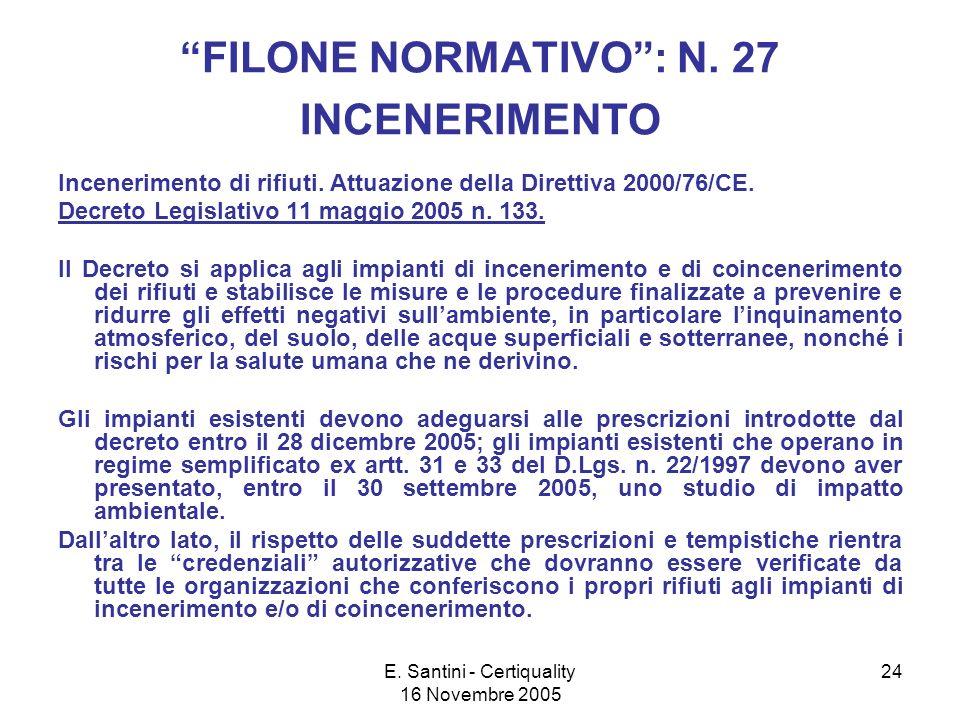 E. Santini - Certiquality 16 Novembre 2005 24 FILONE NORMATIVO: N.