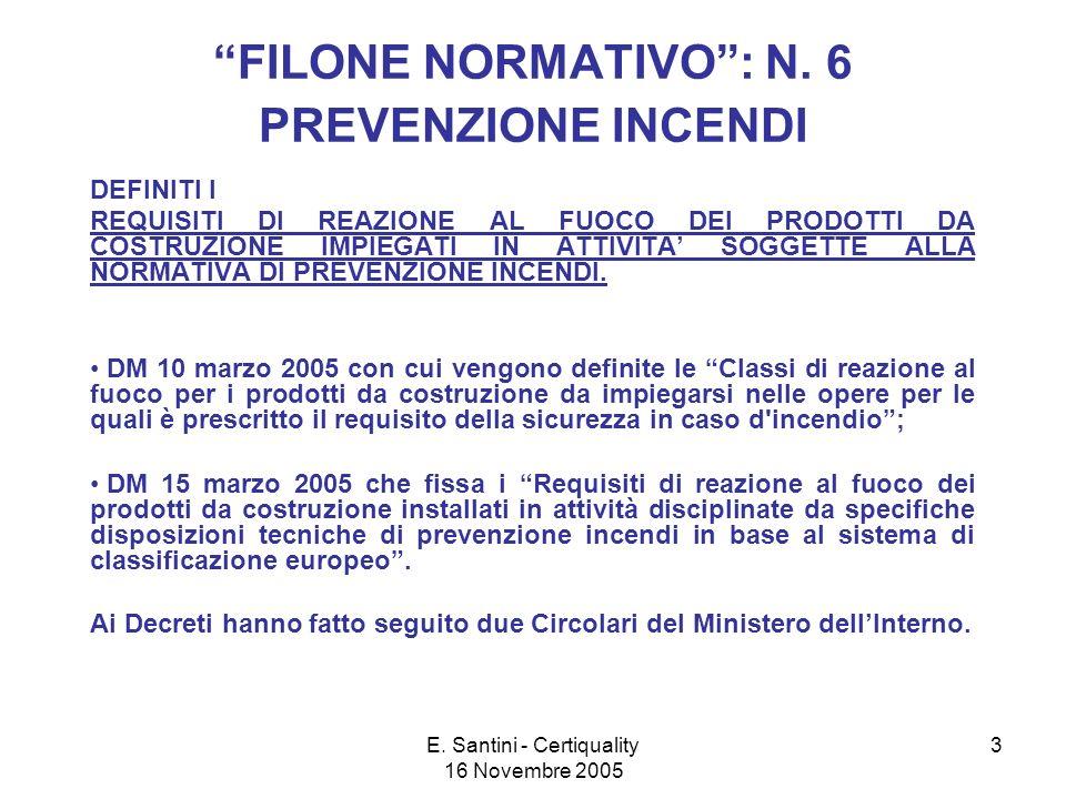 E. Santini - Certiquality 16 Novembre 2005 3 FILONE NORMATIVO: N.