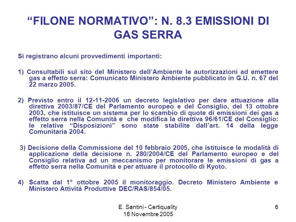 E. Santini - Certiquality 16 Novembre 2005 6 FILONE NORMATIVO: N.